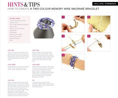 Learn how to create a two colour memory wire macrame bracelet, with this easy to follow step by step tutorial from www.jewellerymaker.com