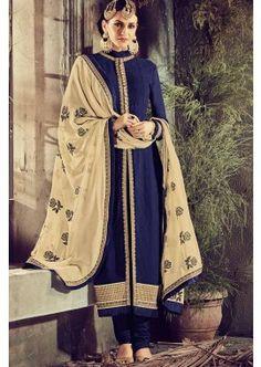 Navy Blue Georgette Churidar Suit, - £87.00, - #indiandress #churidarsuit, #fashion #shopkund