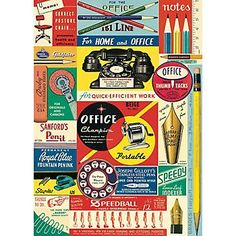 Cavallini Vintage Office Collage Wrapping Paper