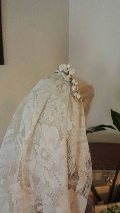Vintage Inspired Ivory Flower Tiara With Lace Veil for by SaongJai