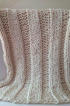 Super Chunky Hand Knit Blanket Throw 40 x 60 by DahliaDaysDesign. $200