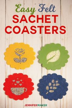 DIY Felt Sachet Coasters Smell Great with a Warm Mug! | Floral Sachets | Cricut Maker SVG Cut File Project