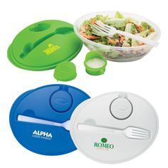 Salad bowl set-Quart-plus size oval salad bowl set with lid that holds a removable dressing/sauce container and reusable fork.