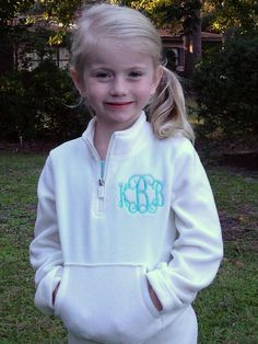 Girls Monogrammed Fleece Pullover Jacket-Many colors and fonts to choose from. Erynn needs this!