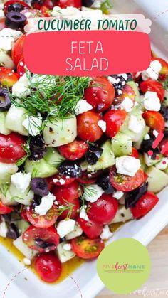 Greek Salad Recipes, Best Salad Recipes, Cucumber Recipes, Summer Salad Recipes, Veggie Recipes, Vegetarian Recipes, Cooking Recipes, Healthy Recipes, Avocado Cucumber Tomato Salad