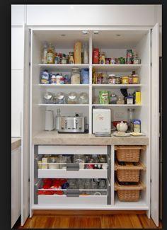 kitchen pantry design Smart DIY Kitchen Storage Ideas to Keep Everything in Order Diy Kitchen Cupboards, Kitchen Larder, Kitchen Pantry Design, Diy Kitchen Storage, Home Decor Kitchen, Home Kitchens, Kitchen Remodel, Kitchen Furniture, Smart Storage