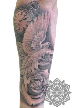 Dove, roses and pocketwatch Tattoo