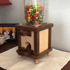 Check out the heart-warming DIY story behind this Skittles dispenser. I actually teared up! Craft Projects For Kids, Project Ideas, Wood Projects, Projects To Try, Craft Ideas, Diy Gumball Machine, Wood Crafts, Diy Crafts, Candy Dispenser
