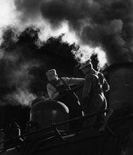 Denver & Rio Grande Western Railroad, Locomotive taking sand, Chama, New Mexico by David Plowden