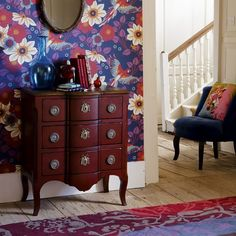 Colourful patterned living room   Living room wallpapers   housetohome.co.uk