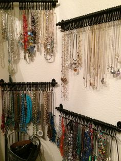 I made these necklace displays from ikea utensil racks. I like them because the hooks don't come off like an a hook will. They were not expensive either and can be made with as many hooks as you n Necklace Storage, Jewellery Storage, Jewellery Display, Hanging Jewelry Organizer, Earring Display, Diy Holz, Jewelry Armoire, Jewelry Cabinet, Jewelry For Her
