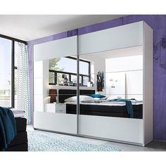 home decor sliding wardrobe world luxury lighting   German Downtown White & Oak 270cm Sliding Door Mirrored ...