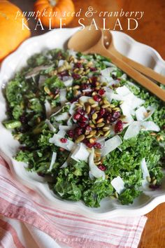Autumn Chopped Salad | Kale, Apples Pumpkin Seed, Pecorino & Cranberry Salad with Apple Cider Vinaigrette
