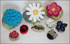 Garden Friends Crocheted Rocks. These cute crochet rocks make great door stops and are an excellent stashbuster project! Made with Vanna's Choice.