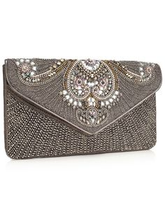 Encrusted Envelope Clutch | Grey | Accessorize
