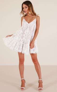 This gorgeous Aline dress is the party dress you need in your life! The Lush Lover dress features a Vneckline, adjustable straps and a gathered frill hem. The lace overlay is to die for and this dress is fully lined. Pair with some strappy heels and re Casual Party Dresses, Hoco Dresses, Dance Dresses, Homecoming Dresses, Sexy Dresses, Cute Dresses, Fashion Dresses, Clubbing Dresses, Dress Casual