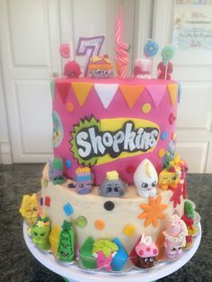 Shopkins Birthday cake Season 3 /craft! My 7 yr old loved helping me with this one! Fun activity to make the figurines and then decorate the cake!