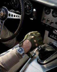 Patek Philippe Nautilus watch, Agnelle driving gloves, YSL jacket and Burberry Brit jeans Leather Driving Gloves, Leather Gloves, Leather Jacket, Patek Philippe, Jaguar E Type, Burberry Brit, Mens Gloves, Nautilus, Supercars