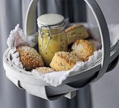 Sugared scones : A simple and quick scone recipe that has a great sweet finish - the crunchy sugar top adds texture too A simple and quick scone recipe that has a great sweet finish - the crunchy sugar top adds texture too Classic Scones Recipe, Scone Recipes, Chocolate Drizzled Popcorn, Passion Fruit Curd, Strawberry Compote, Cheese Scones, Thinking Day, Bbc Good Food Recipes, Cookies