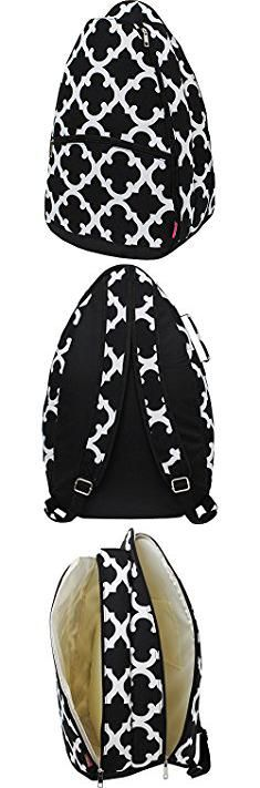 Backpack Tennis Bags. Geometric Clover Print Tennis Racquet Holder Backpack.  #backpack #tennis #bags #backpacktennis #tennisbags