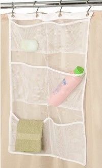 Mesh hanging organizer for the shower. Great place for baby toys!