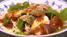 Lasagne af rødspætte - med spinatpaste, mosede tomater og vesterhavsost