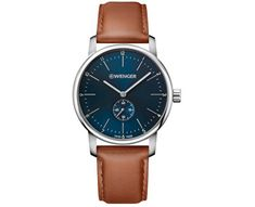 Wenger Wenger Swiss Made Urban Classic Blue And Silver Detail Chronograph Dial Tan Leather Strap Mens Watch in One Colour Herren Chronograph, Blue And Silver, Blue Brown, Fashion Watches, Men's Watches, Prime Watches, Wenger Watches, Male Watches, Casual Watches