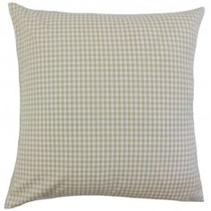 """This neutral hued throw pillow is the answer to your styling woes. With its beige and white color palette and a plaid pattern, you can easily pair this with other home accessories. Designed for indoor use, this 18"""" pillow is made from 100% cotton material. Crafted in the USA. $55.00 #plaid #pillows #homedecor #interiorstyling #tosspillow"""