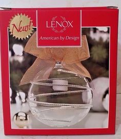 "Lenox ""Blown Glass Ball Swirl"" Christmas Crystal Like Ornament - 4 1/2"" NIB"
