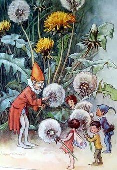 Margaret Tarrant Flower Fairies Vintage Fairy Print Dandelions Fairies Mounted 1936 Childs Nursery Ready to Frame Elfen Fantasy, Fantasy Art, Art And Illustration, Book Illustrations, Elves And Fairies, Vintage Fairies, Fairytale Art, Alphonse Mucha, Flower Fairies