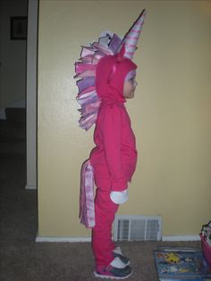 Homemade Unicorn costume!  No sew, just pin and glue!  Adorable!!