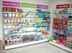 My Description Retail Store Design, Retail Shop, Shop Shelving, Shelves, Gondola Shelving, Pharmacy Store, Store Fixtures, Shelf Design, New Market