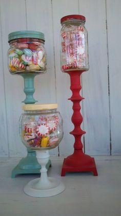 DIY Candy Jars! Reuse glass jars, spraypaint lids & candlestick holder  the same color.
