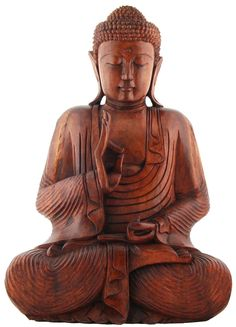 Teaching Thai Buddha Statue - Hand Carved Solid Wood