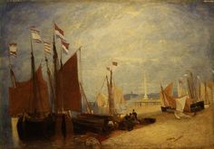painting, 'Dutch Boats off Yarmouth' by John Sell Cotman oil on mahogany panel, 1823 to 1824 about; cm x cm; Framed Prints, Art Prints, Art Uk, Romanticism, Your Paintings, Great Artists, Printmaking, Illustrators, Original Artwork