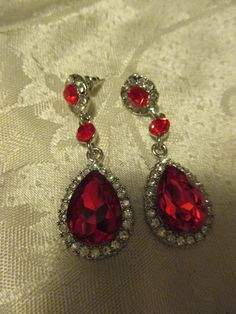 long red crystal and rhinestone earrings very bling and beautiful