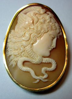 Victorian Medusa cameo in gold mount circa 1880. I have a Medusa cameo...love it.