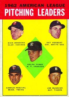 Jim Bunning 1962 AL Pitching Leaders Card 1963 - Topps  Card Number: 8