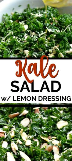 Simple Kale Salad with Lemon Vinaigrette is a healthy addition to lunch or dinner. Added sliced almonds and parmesan cheese pair perfectly with the tangy lemon dressing. Healthy Cooking, Cooking Recipes, Healthy Recipes, Cooking 101, Bean Diet, Broccoli Salad With Raisins, Lemon Vinaigrette Dressing, Low Carb Meats, Appetizer Salads