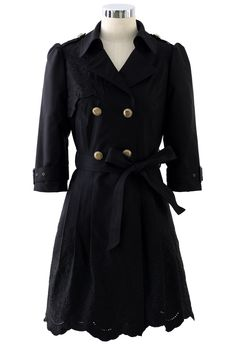 Floral Cut Out Tirm Trench Coat in Black