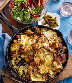 Potato,-bacon-and-raclette-skillet-gratin