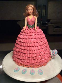 #Doll#Cake. 7 layered Chocolate cake with fondant ruffles.