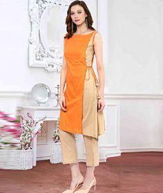 Shop Orange Cotton Designer Readymade Kurti 72527 online at best price from vast collection of designer kurti at Indianclothstore.com.