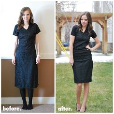 not very much of a tutorial, but a good idea for transforming a frumpy dress