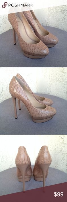 "Brian Atwood Nude Snakeskin Stilettos Heels 9 Brian Atwood Women's Heels Nude Beige Snakeskin Leather Platform Stilettos Shoe  Type: Heels Style: Platforms / Stilettos Style Name: Fontanne Brand: Brian Atwood Size: 9 Heel Height: 5"" Material: Snakeskin Upper / Leather Lining / Leather Sole Color: Nude / Beige Condition: Great, Preowned Condition Country of Manufacturer: China  Stock Number: Brian Atwood Shoes Heels"