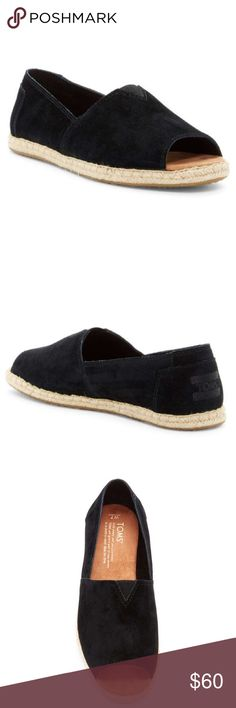 Toms Open Toe Espadrilles Black Suede TOMS Womens Open Toe Flats in Black SuedePeep this. The Open Toe Flats are made in soft suede and feature easy slip-on design, peep-toe silhouette, and an espadrille-inspired jute midsole. Pair with dark skinnies and a lace blouse for casual street style.With every pair of shoes you purchase, TOMS will give a new pair of shoes to a child in need.  Suede upper Peep toe Textile lining Suede-covered, cushioned footbed Woven rope midsole TOMS Shoes…