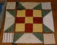 """Quiltville's Quips & Snips!!: Old Tobacco Road, Part 2! Mystery Quilt Along-Bonnie K Hunter When working with 2.5"""" cut squares or larger, I 'double sew' these 3/8"""" of an inch away from the diagonal seam across the corner square, and when I trim between them, I get OODLES of bonus half square triangles!"""