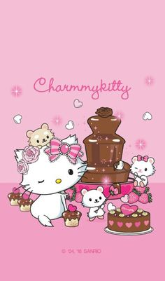 Chocolate fountain with Charmmy Kitty, Sugar a male white hamster, Mille-Fuille a tanned hamster and Tiramisu a white female hamster . Sanrio Wallpaper, Hello Kitty Wallpaper, Kawaii Wallpaper, Hello Kitty Items, Sanrio Hello Kitty, Hello Kitty Pictures, Little Kitty, Sanrio Characters, Little Twin Stars