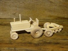 Wooden Toy Tractor and Plow