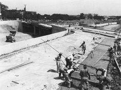 Central Expressway construction. 1940s Photo. North Dallas High School in the top left of this photo and that is the old Haskell Avenue bridge under construction. It was demolished when Central Expressway was later expanded. The construction of Central Expressway in the 1940s separated East Dallas from the remainder of the city.